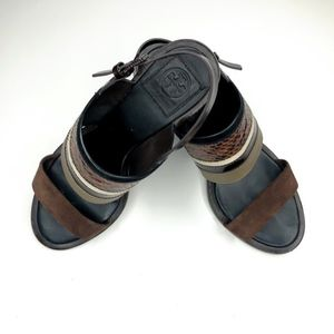 Tory Burch Snake and Suede Sandals